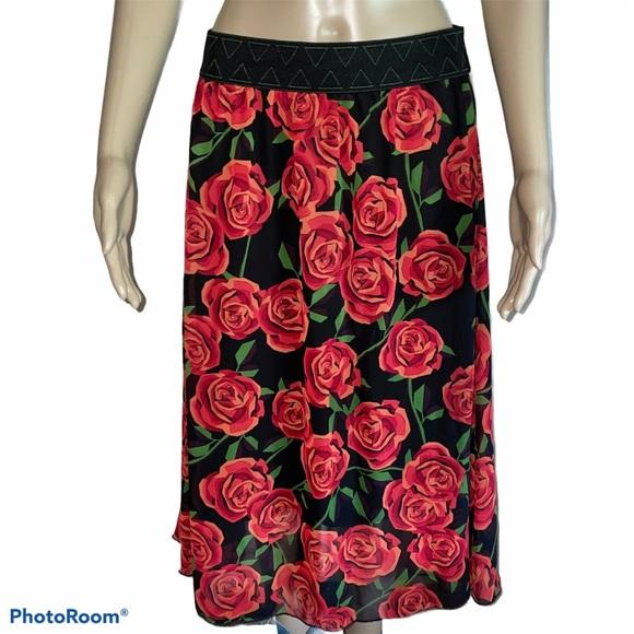 LuLaRoe red rose print sheer skirt